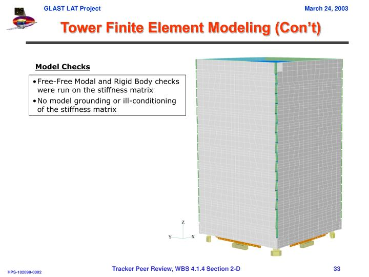 Tower Finite Element Modeling (Con't)