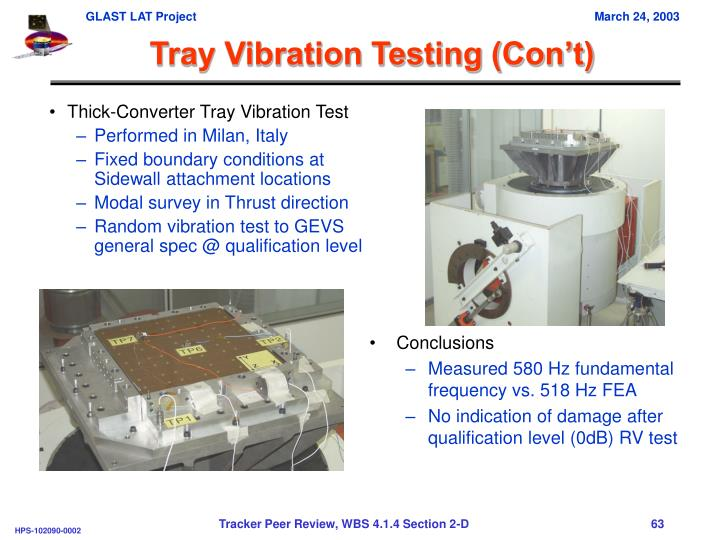 Tray Vibration Testing (Con't)