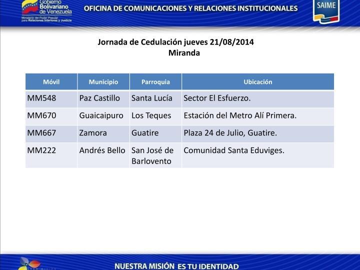 Jornada de Cedulación jueves 21/08/2014