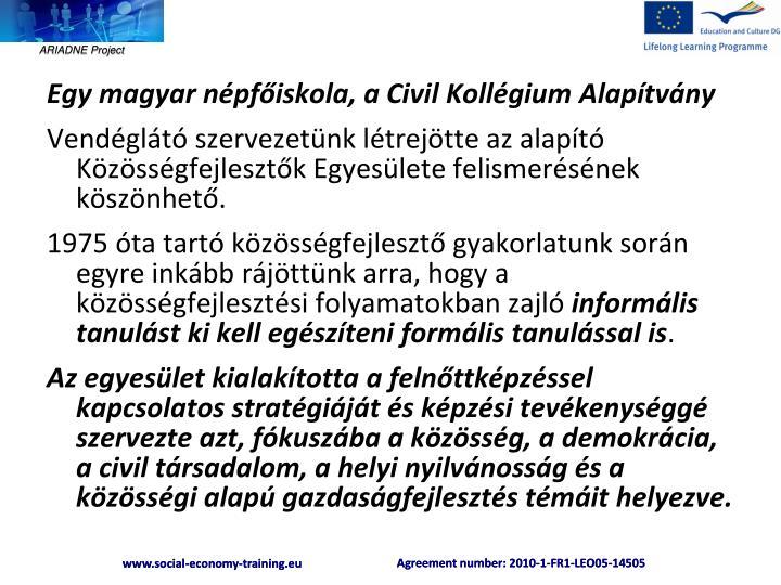 Egy magyar népfőiskola, a Civil Kollégium Alapítvány
