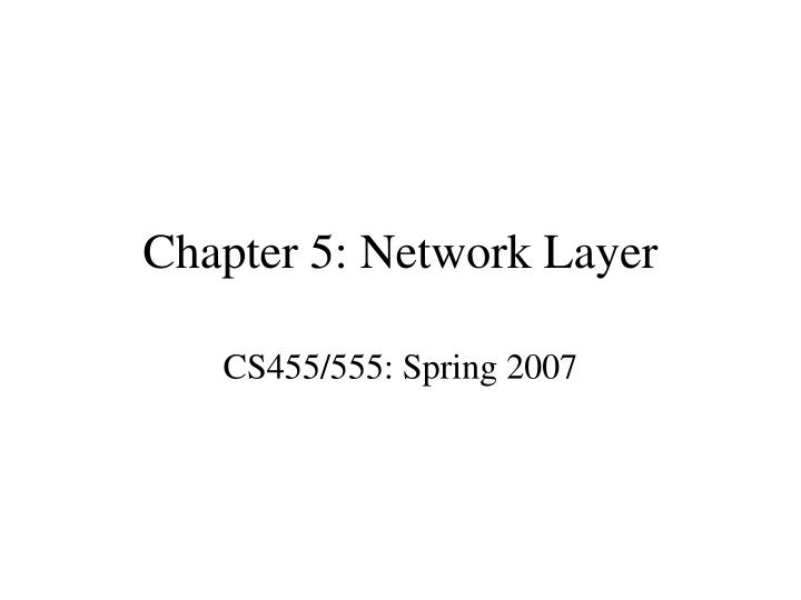 Chapter 5 network layer