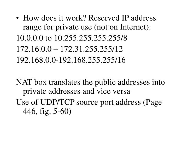 How does it work? Reserved IP address range for private use (not on Internet):