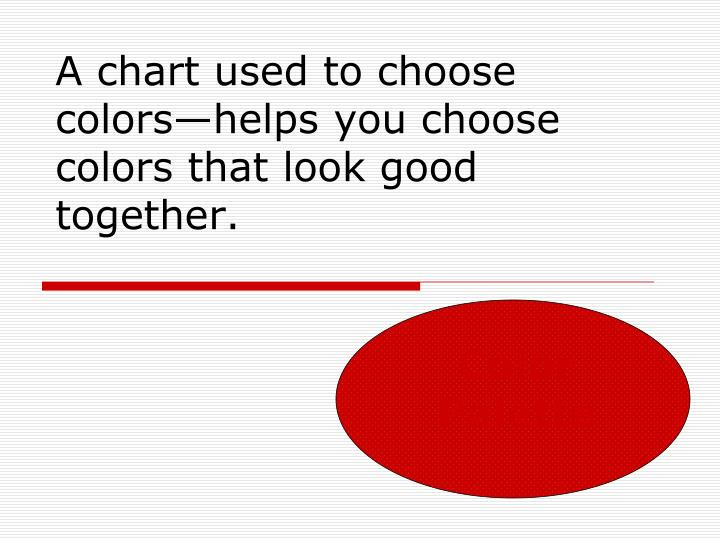 A chart used to choose colors helps you choose colors that look good together