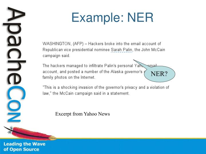Example: NER