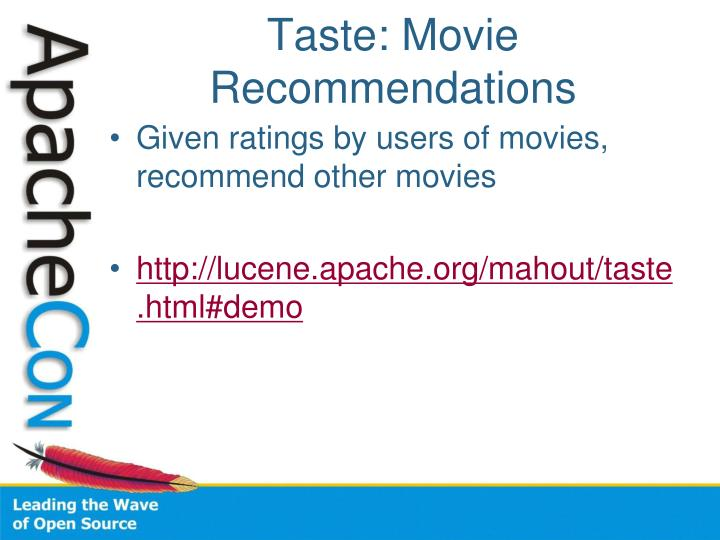 Taste: Movie Recommendations