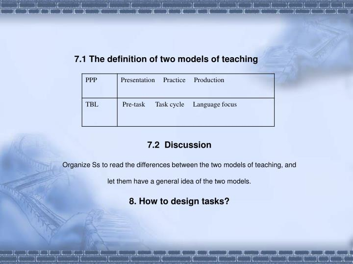 7.1 The definition of two models of teaching