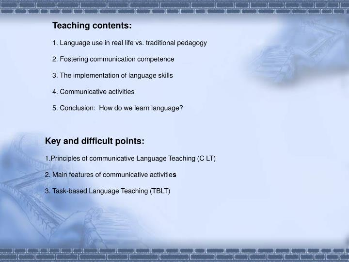 Teaching contents: