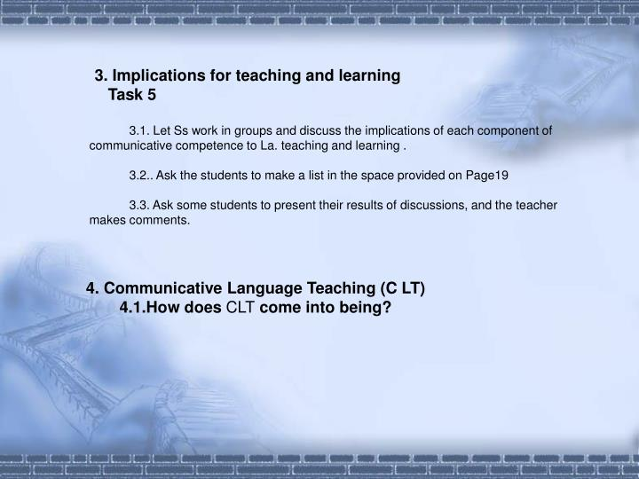 3. Implications for teaching and learning