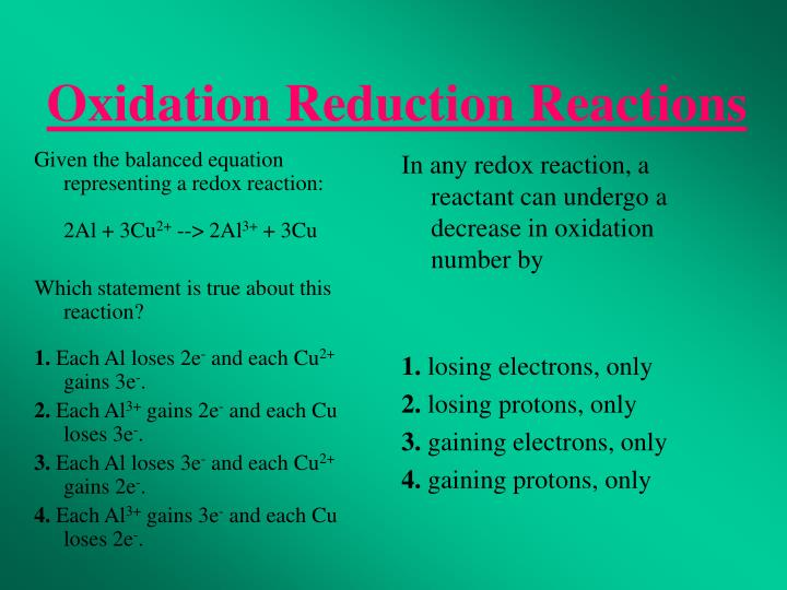 Given the balanced equation representing a redox reaction: