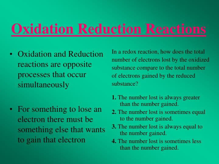 Oxidation and Reduction reactions are opposite processes that occur simultaneously