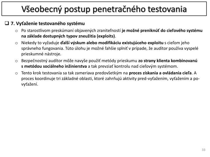 Všeobecný postup penetračného testovania