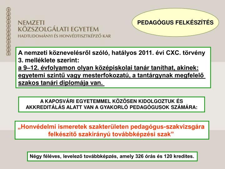 PEDAGÓGUS FELKÉSZÍTÉS