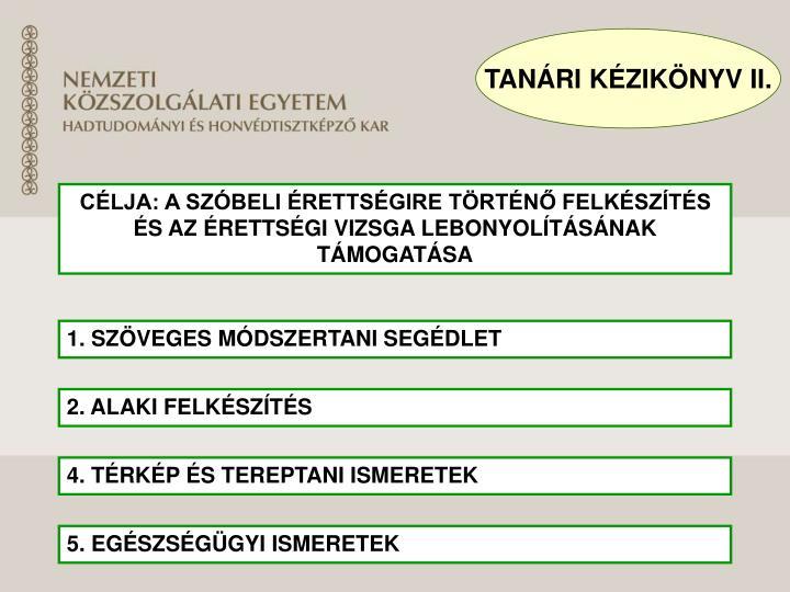 TANÁRI KÉZIKÖNYV II.