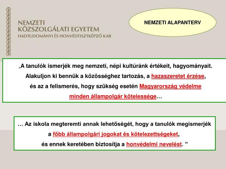 NEMZETI ALAPANTERV