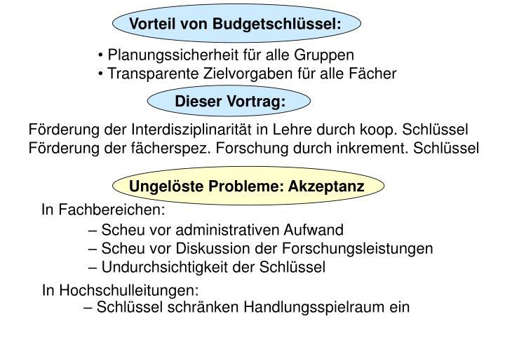 Vorteil von Budgetschlüssel: