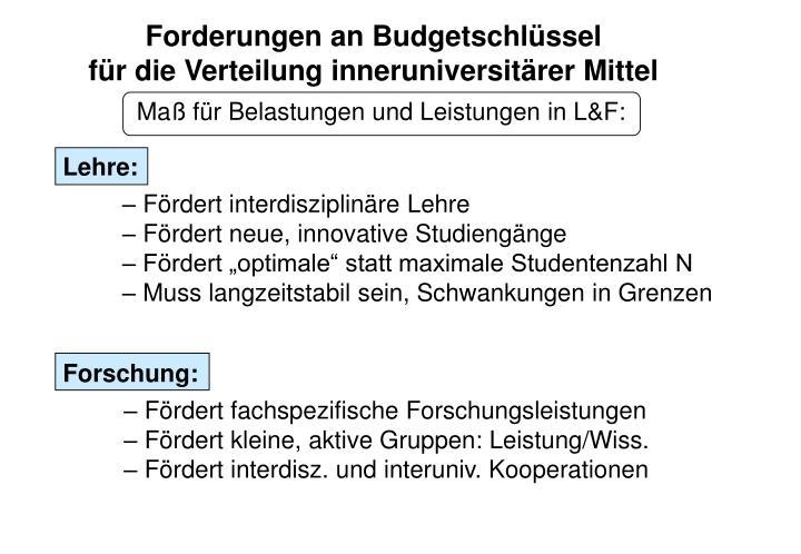 Forderungen an Budgetschlüssel