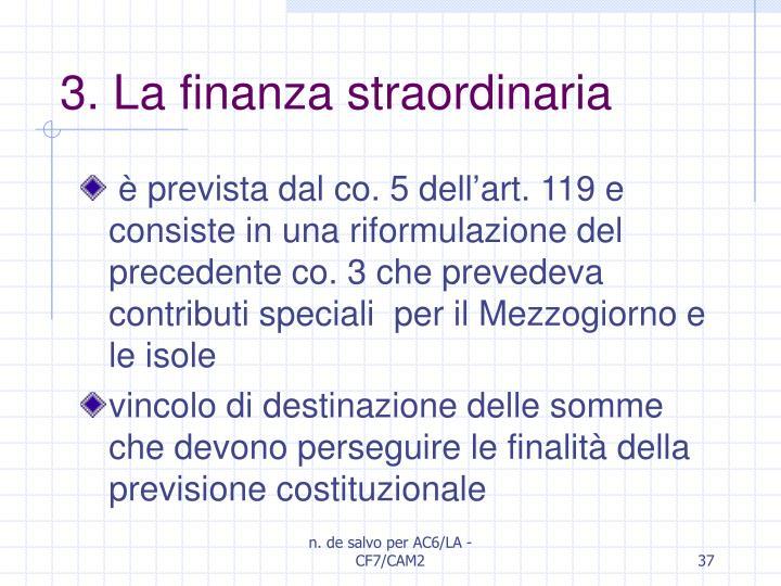 3. La finanza straordinaria