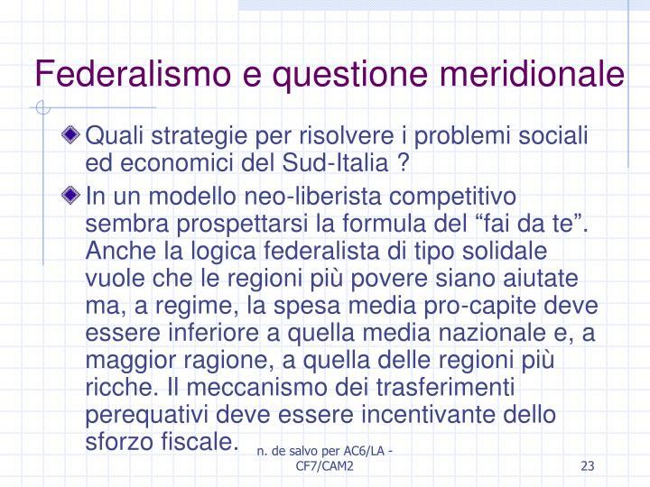 Federalismo e questione meridionale