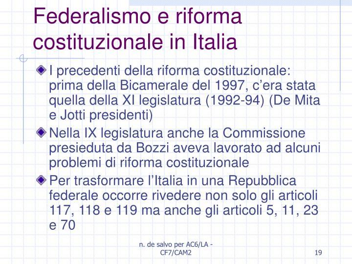 Federalismo e riforma costituzionale in Italia