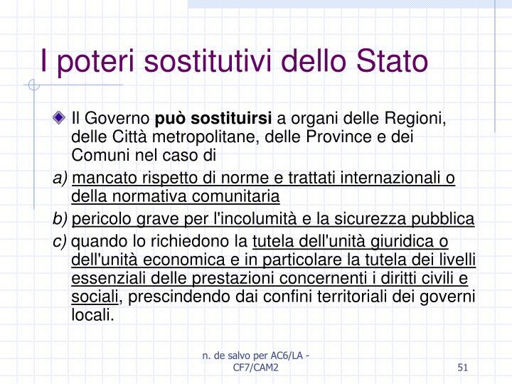 I poteri sostitutivi dello Stato
