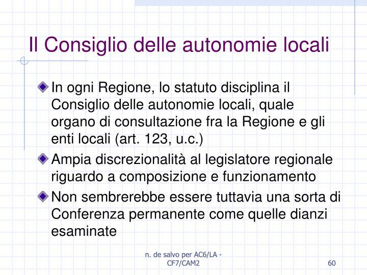 Il Consiglio delle autonomie locali