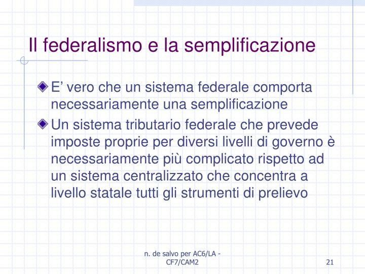Il federalismo e la semplificazione