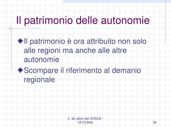 Il patrimonio delle autonomie