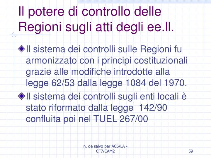 Il potere di controllo delle Regioni sugli atti degli ee.ll.