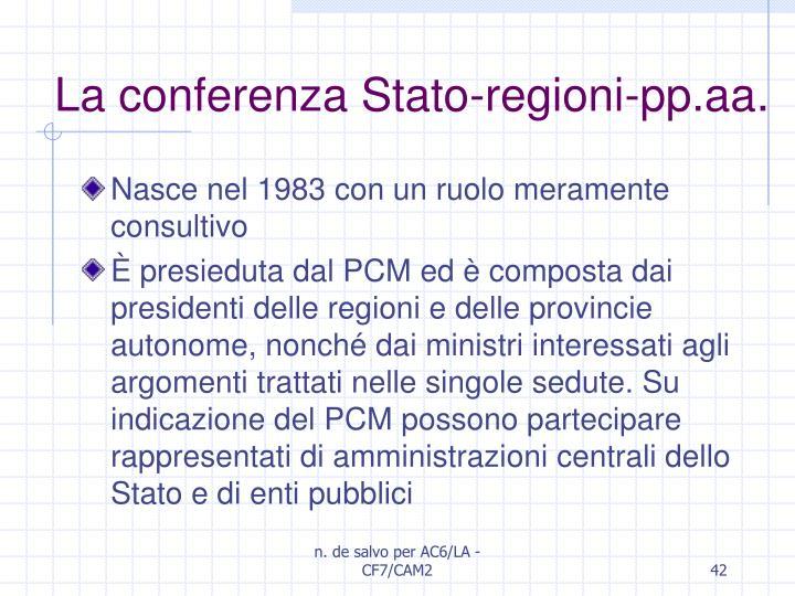 La conferenza Stato-regioni-pp.aa