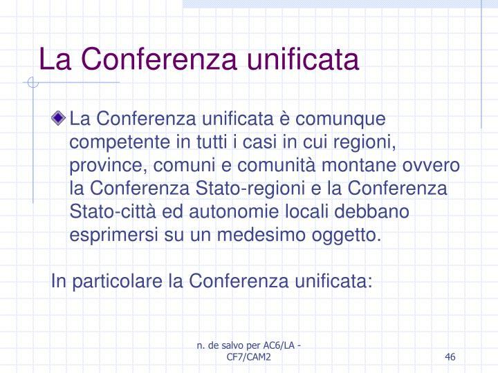 La Conferenza unificata