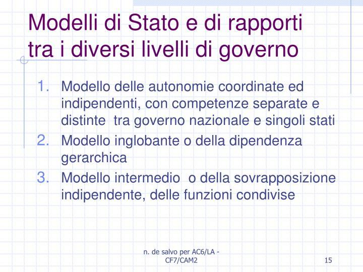 Modelli di Stato e di rapporti tra i diversi livelli di governo