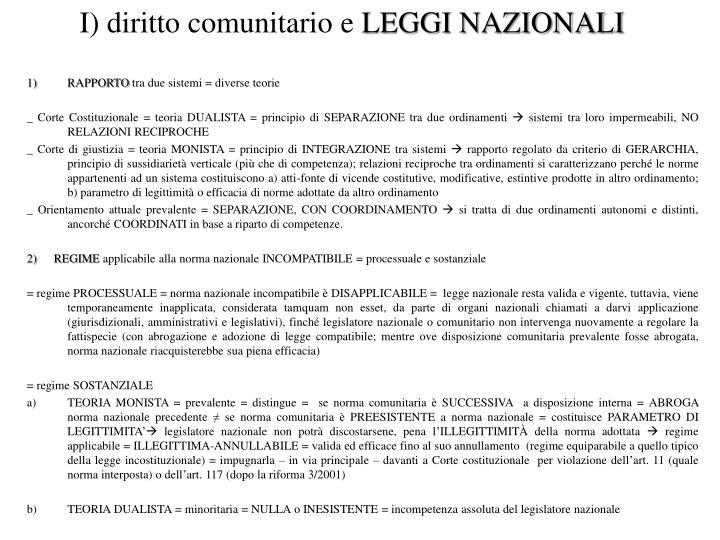 I) diritto comunitario e