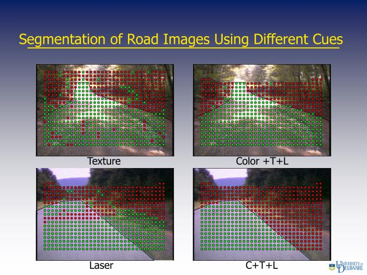 Segmentation of Road Images Using Different Cues