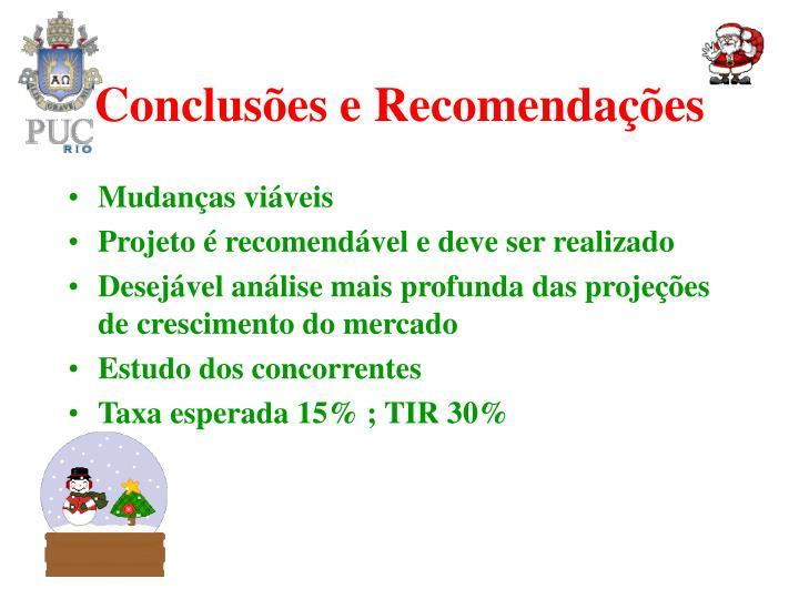 Conclusões e Recomendações