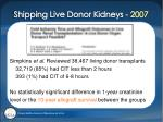 shipping live donor kidneys 2007