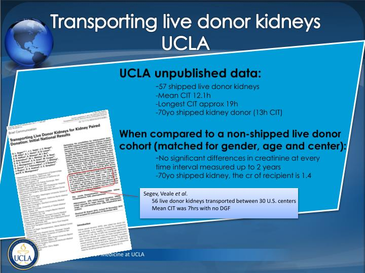 Transporting live donor kidneys