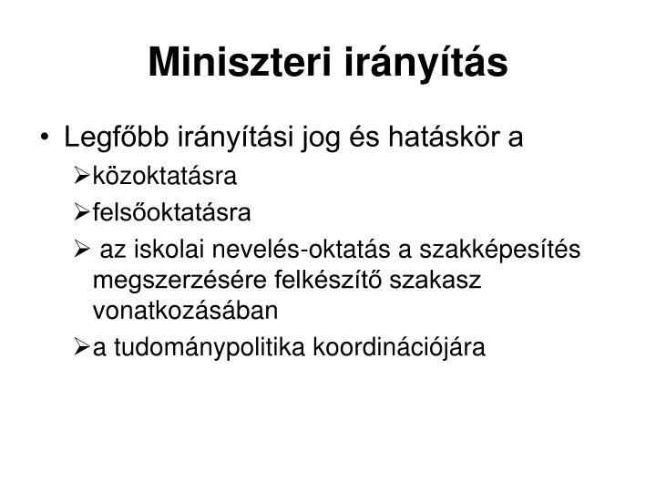 Miniszteri irányítás