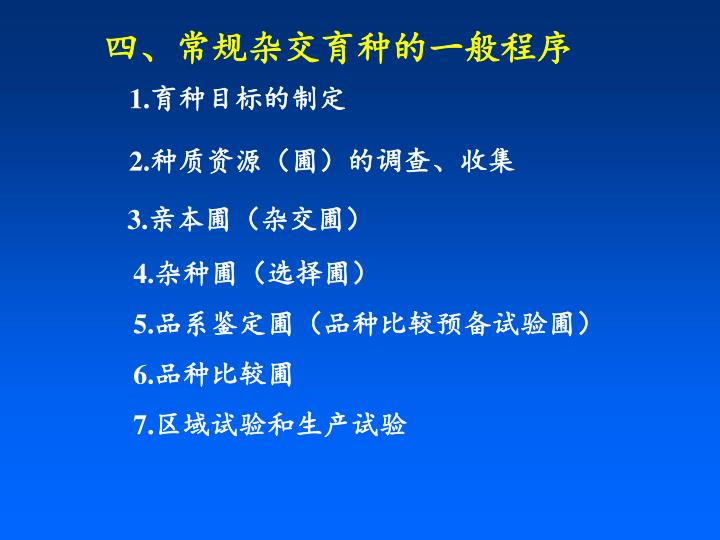 四、常规杂交育种的一般程序