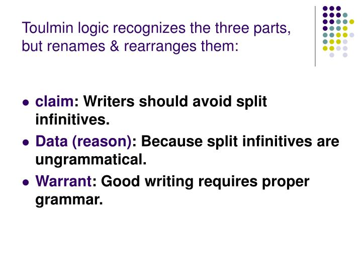 Toulmin logic recognizes the three parts, but renames & rearranges them: