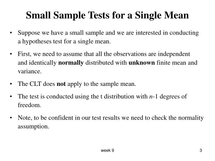 Small Sample Tests for a Single Mean