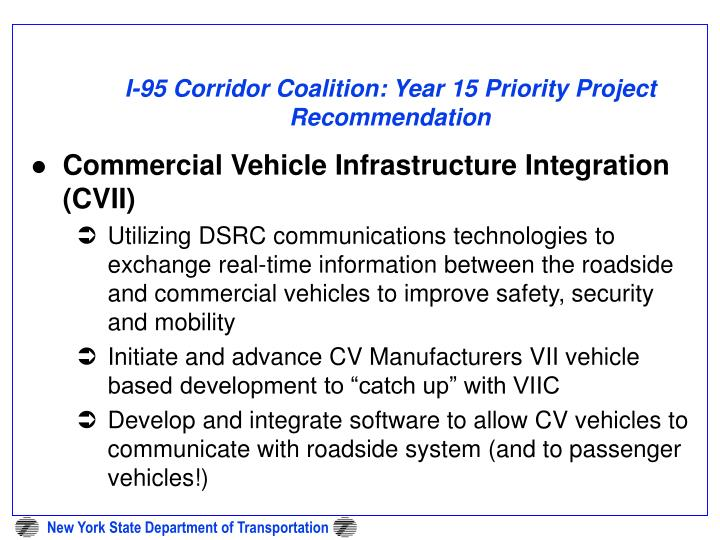 I-95 Corridor Coalition: Year 15 Priority Project Recommendation