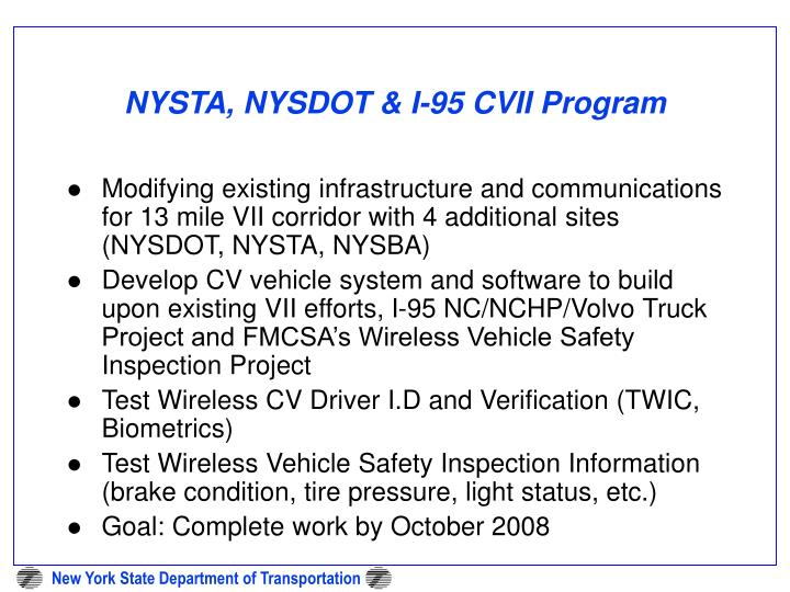 NYSTA, NYSDOT & I-95 CVII Program