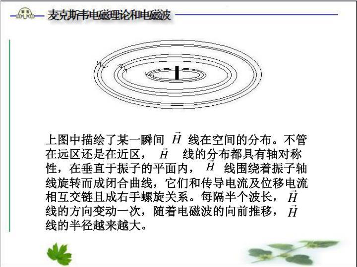 上图中描绘了某一瞬间       线在空间的分布。不管在远区还是在近区,         线的分布都具有轴对称性,在垂直于振子的平面内,       线围绕着振子轴线旋转而成闭合曲线,它们和传导电流及位移电流相互交链且成右手螺旋关系。每隔半个波长,      线的方向变动一次,随着电磁波的向前推移,       线的半径越来越大。