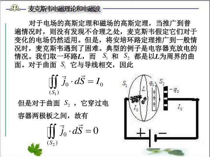 对于电场的高斯定理和磁场的高斯定理,当推广到普遍情况时,则没有发现不合理之处,麦克斯韦假定它们对于变化的电场仍然适用。但是,将安培环路定理推广到一般情况时,麦克斯韦遇到了困难。典型的例子是电容器充放电的情况。我们取一环路