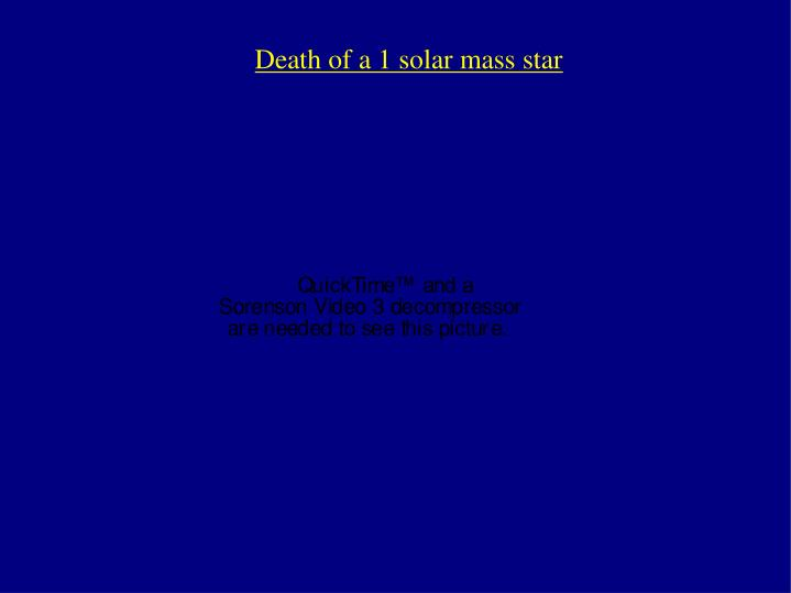 Death of a 1 solar mass star