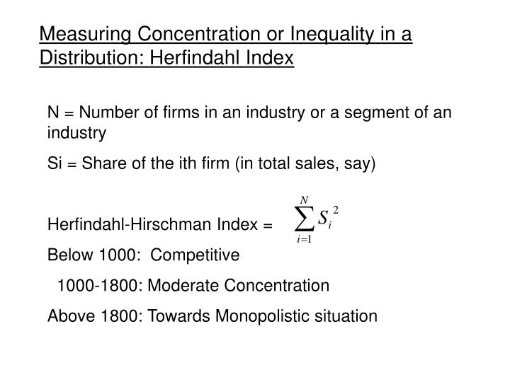 Measuring Concentration or Inequality in a Distribution: Herfindahl Index