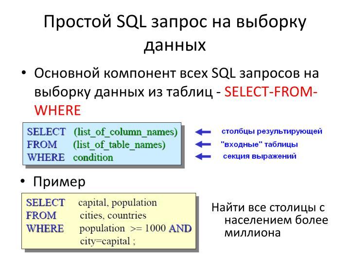 Простой SQL запрос на выборку данных