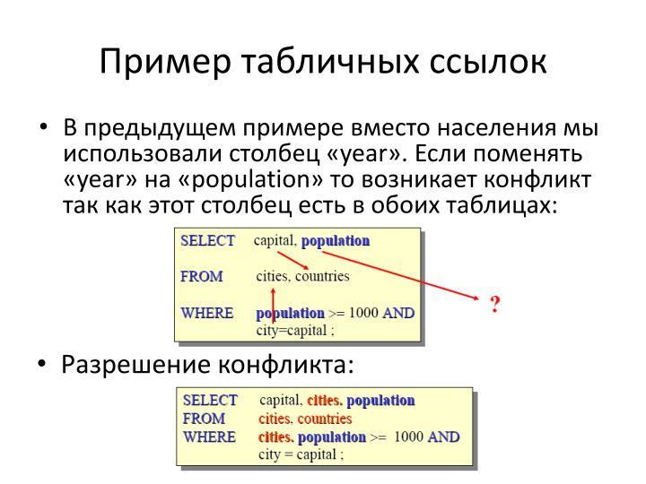 Пример табличных ссылок