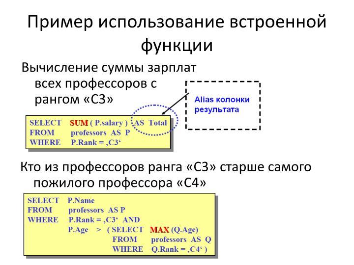 Пример использование встроенной функции