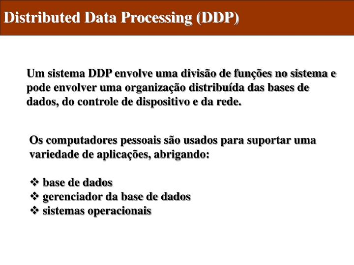 Distributed Data Processing (DDP)